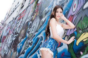 brunette wall women lace asian women outdoors street skirt graffiti long hair white tops model