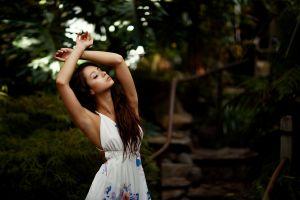 brunette white dress women women outdoors armpits