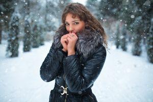 brunette women outdoors women snow dmitry shulgin black coat cold brown eyes winter coats vera