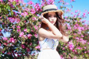 brunette women with hats asian model women white dress depth of field straw hat women outdoors