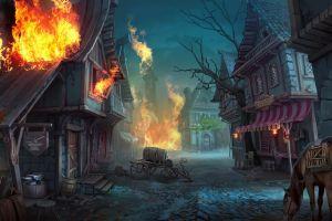 burning digital art village elizaveta lebedeva fantasy art horse