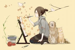 butterfly simple background birds anime anime girls cats painting dog