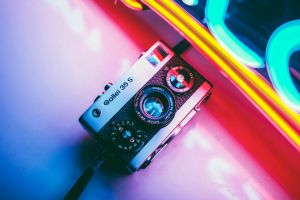 camera neon rollei35 colorful reflection