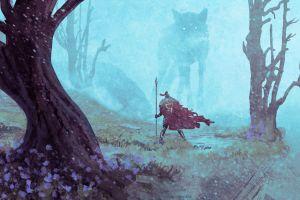 cape spear fantasy art wolf creature trees forest mist warrior