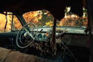 car interior wreck vehicle car