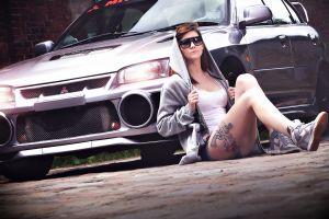 car mitsubishi vehicle women with cars sitting tattoo women outdoors women model women with glasses