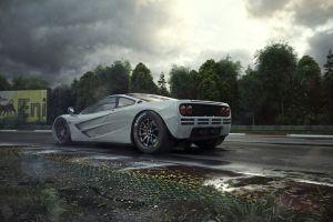 car silver cars supercars vehicle mclaren digital art