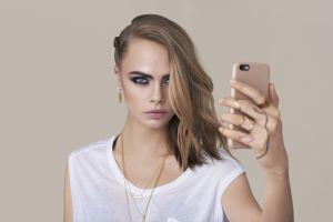 cara delevingne model celebrity makeup model portrait cara delevingne simple background women hair in face selfies blonde smoky eyes