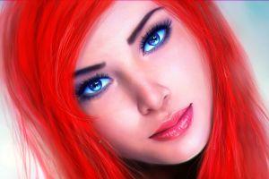 cartoon blue eyes redhead