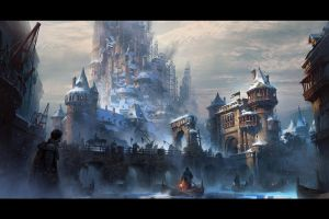 castle medieval artwork snow winter digital