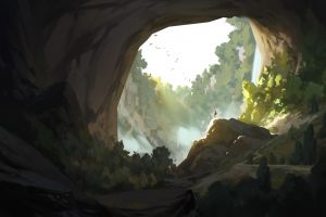 cave forest environment drawing