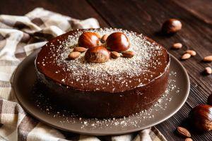 chestnut cake chocolate cake nuts food dessert