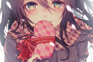 chita (ketchup) looking at viewer anime girls face scarf coats long hair crying valentine's day portrait anime women tears artwork illustration