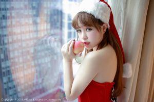 christmas brunette asian santa hats looking back juicy lips eyes window sensual gaze santa costume women indoors xiuren looking at viewer strapless dress