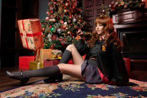 christmas ornaments  disharmonica gryffindor women cosplay presents portrait hermione granger christmas brunette schoolgirl women indoors magic on the floor sitting