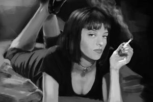 cigarettes women actress painting monochrome mia wallace uma thurman pulp fiction in bed movies artwork smoke lying on front
