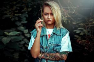 cigarettes women denim tattoo inked girls blonde nose ring portrait t-shirt piercing smoking
