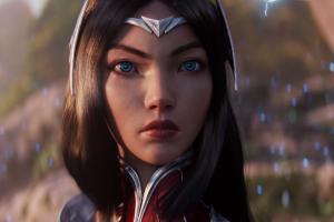 cinema 4d pc gaming render blue eyes fantasy girl league of legends