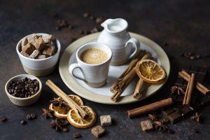cinnamon coffee chocolate coffee beans milk sweets food cappuccino still life