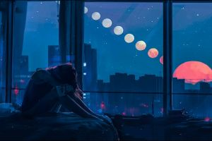 city drawing painting women artwork window women indoors digital art aenami night environment room alone landscape sun