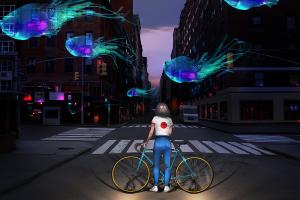 city fish women fantasy art street traffic lights environment