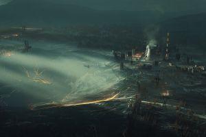 city landscape landscape digital smoke octanerender by otoy octanerender cinema4d  cinema4d  concept art factory