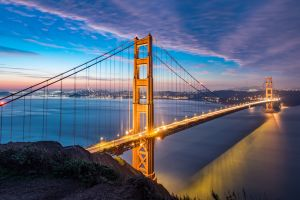 city lights san francisco bridge sea long exposure golden gate bridge