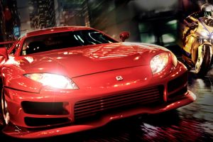 city vehicle red car toyota supra night video games bikes red cars motorcycle