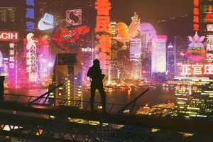 cityscape cyberpunk ghost in the shell