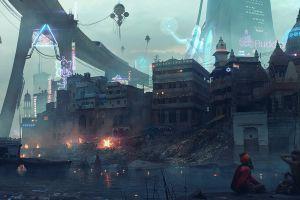 cityscape digital art futuristic futuristic city