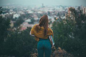 cityscape high waisted depth of field jeans back women outdoors brunette women portrait