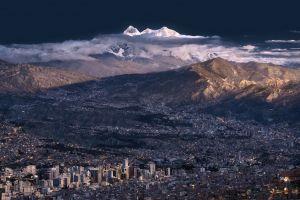 cityscape mountains landscape
