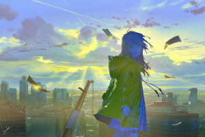 cityscape sky anime anime girls clouds