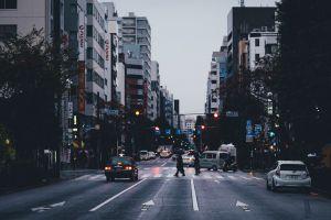 cityscape street asia japan crosswalk car traffic lights takashi yasui