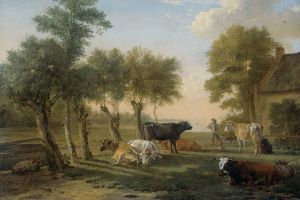 classical art animals artwork trees painting cow farm