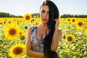 cleavage long hair women outdoors sunflowers portrait women