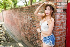 cleavage model women with hats portrait wall jean shorts bracelets outdoors women belly depth of field short tops looking at viewer necklace women outdoors
