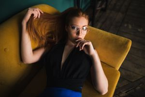cleavage skirt portrait women with glasses women finger on lips