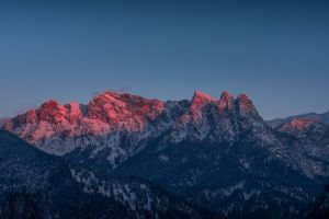 cliff mountains nature landscape winter sunset