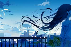 closed eyes anime girls sky ashima anime long hair flowers blue