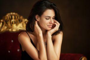 closed eyes maxim maximov portrait women irina antonenko smiling