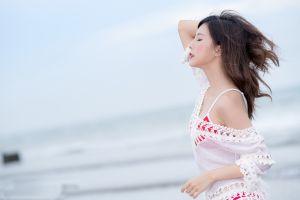 closed eyes women face women outdoors model
