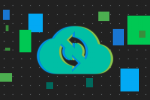cloud services abstract grid tech neon glow material style minimalism