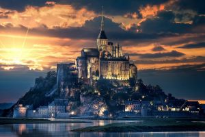 clouds abbey mont saint-michel island sky castle france