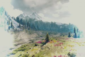 clouds grass video games trees the witcher 3: wild hunt the witcher painting snow mountains video game art