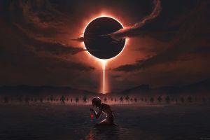 clouds griffith eclipse  dark digital art behelit berserk