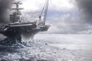 clouds ice cranes (machine) battleships polar bears viktor póda arctic frost digital art