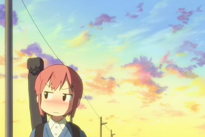 clouds redhead nichijou anime girls tachibana misato anime white skin dusk brown eyes