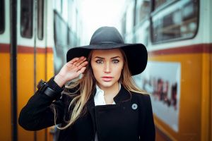 coats mary jane women with hats open coat blonde face pink lipstick maria puchnina portrait glamour women glamour millinery touching hair black hat ivan gorokhov