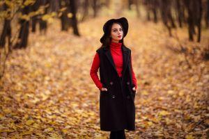 coats red lipstick long hair hat leaves women with hats women outdoors turtlenecks depth of field model outdoors bokeh portrait fall brunette